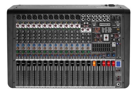 Proco L16 Consola Audio Mixer 16 Canales 99 Efectos Usb Bt