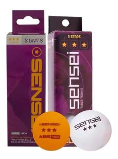 Pelotas Ping Pong Sensei 3 Estrellas Caja X 3 Unidades
