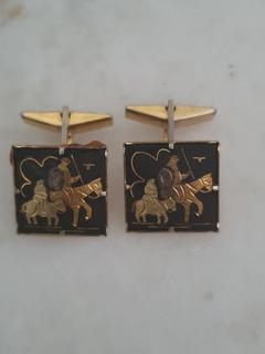 Gemelos Antiguos Damasquinados Oro Toledo