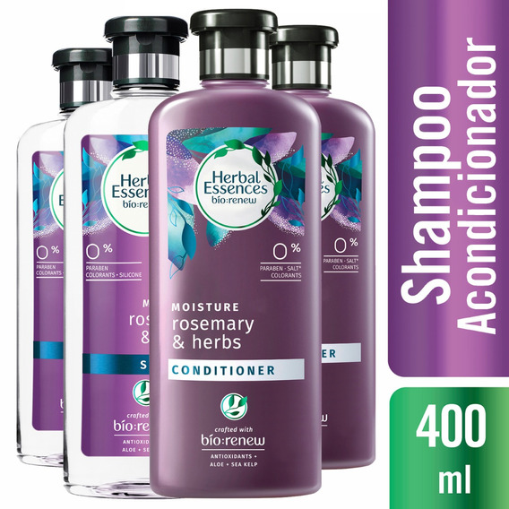 2 Shampoo Herbal Essences Rosemary & Herbs +2 Aco. 400ml