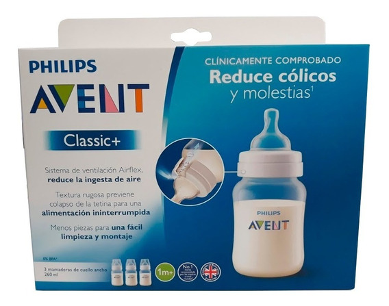 Set 3 Mamaderas Classic 260ml 1m+ Avent Bebe