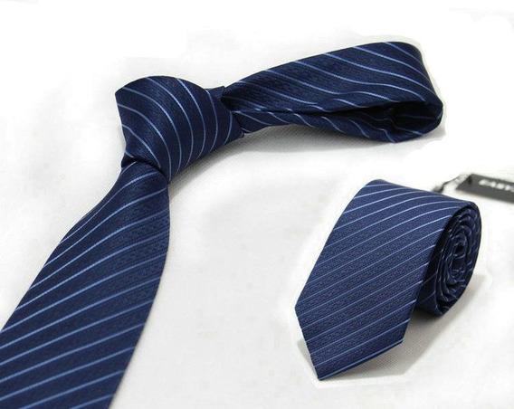 Gravata Luxo Slim 7 Cm Jaquard Azul Marinho