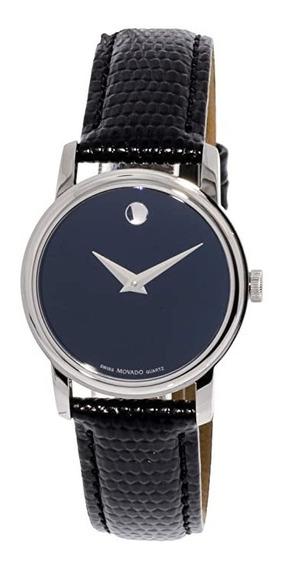 Reloj Movado Cuarzo Suizo Mujer Piel Acero Negro Disponible