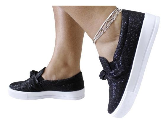 Tênis Feminino Slip On Sapatenis Casual Slipper Glitter 2020