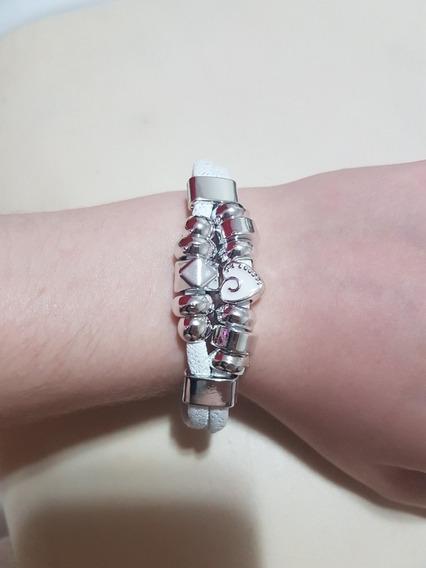 Pulseira Branca Inspirada Pandora Berloques Feicho Imã Moda
