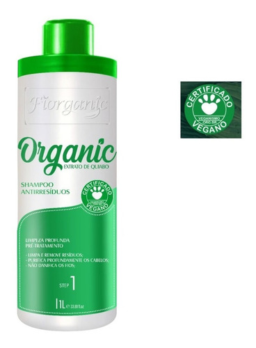 Imagem 1 de 2 de Shampoo Antirresíduo Quiabo E Argan 1 L - Fiorganic