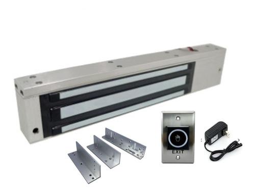 Imagen 1 de 5 de Kit Electroimán 600lb + Soporte Zl + Boton Notouch + Fuente