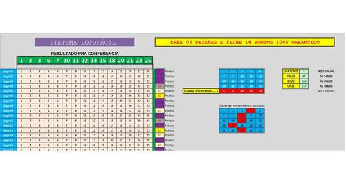 Imagem 1 de 1 de Planilha Premium Lotofácil Erre 5 Acerte 14 Pontos