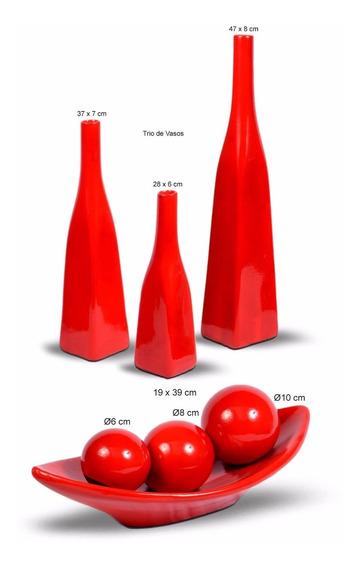 Trio De Vasos Mais Enfeite Centro De Mesa Arranjo Vermelho