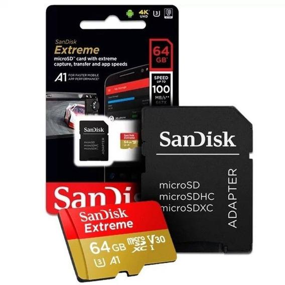 Cartão Micro Sd Sdxc Sandisk Extreme 64gb Classe 10 Uhs-3 4k