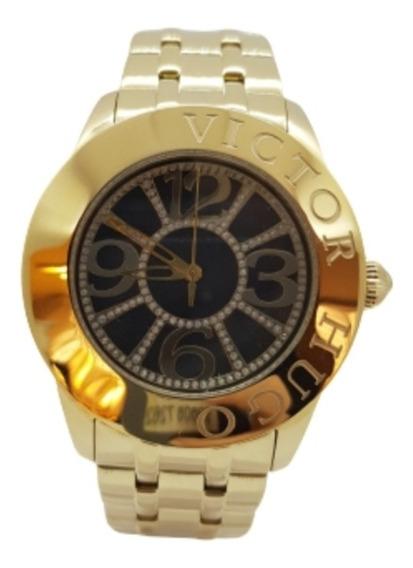 Relógio Feminino Dourado Victor Hugo