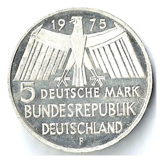 Alemania 1975 5 Mark Plata Proof Monum Históricos Xxn138