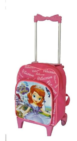 Bolsa Mochila Infantil Princesa Sofia Com Rodinhas Escolar P