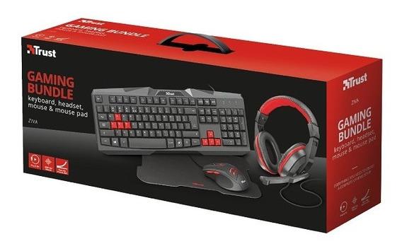 Combo Teclado Headset Mouse E Mouse Pad Gamer Trust Ziva