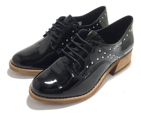 Zapatos De Mujer Acordonados Charol Tachas Savage (sv/mi95)