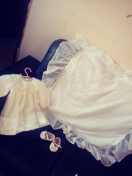 Vestido De Bastismo Tamanho M Sapato N