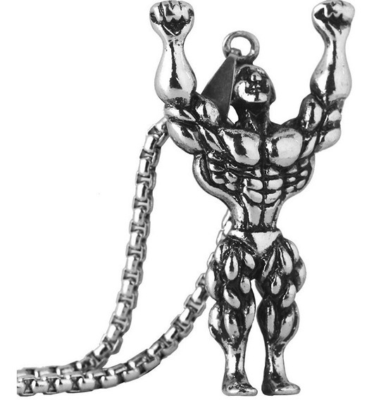 Colar Cordão Musculação Masculino Fisiculturista Academia Prata Corrente Pronta Entrega