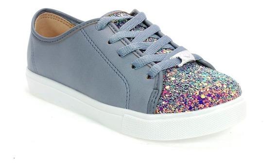 Tênis Menina Glitter Boreal Azul Jeans Molekinha