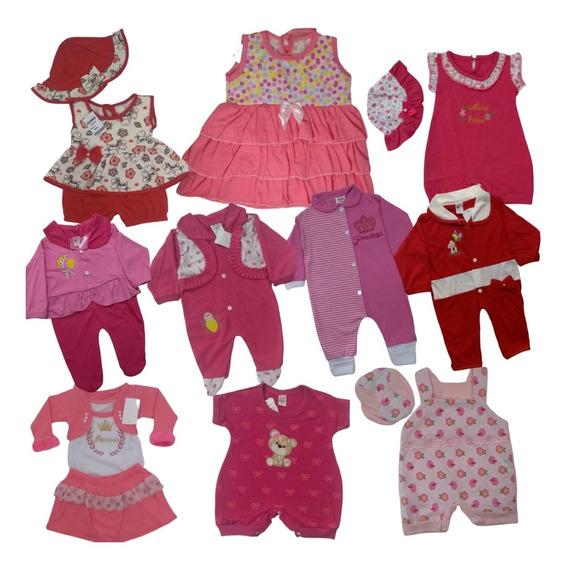Lote 10 Roupas De Bebê Vestidinhos Macacão Conjuntos Body