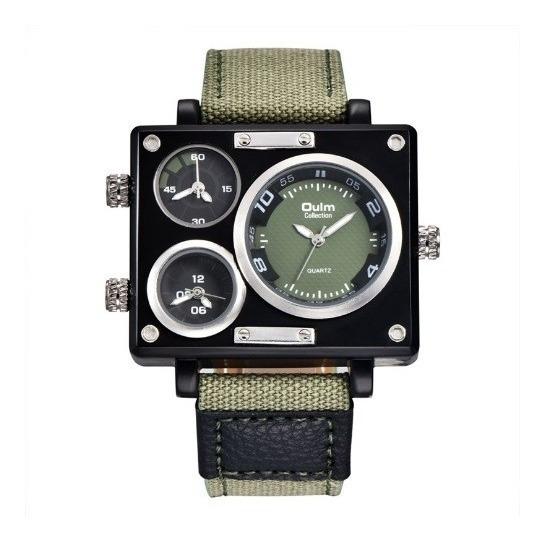 Relógio Pulso Masculino Preto Oulm 3595 Lona 3 Maquinas Novo