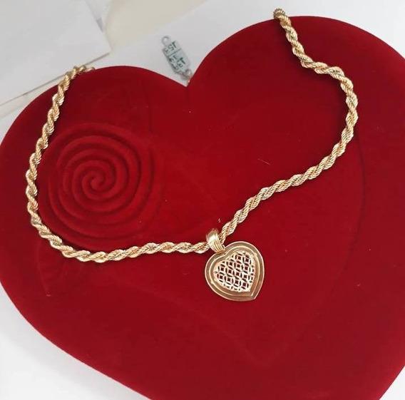 Conjunto Colar Baiano + Pingente Coração Ouro 18kl