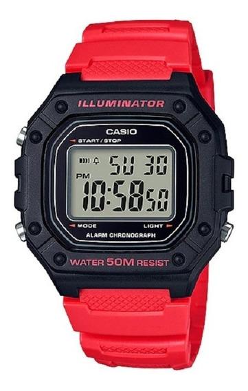 Relógio Casio Masculino Iluminator W-218h 4bvdf Vermelho