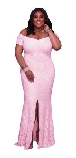 Vestido Talla 2xl De Encaje Rosa , Hombros Descubiertos