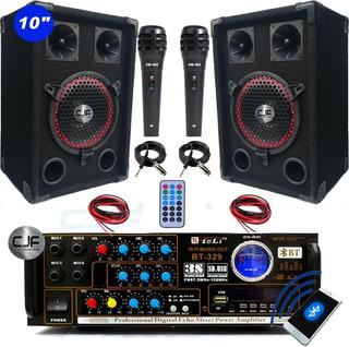 Karaoke 2 Parlantes 10 + Consola Usb Fm+ Bluetooth +2mic Cjf