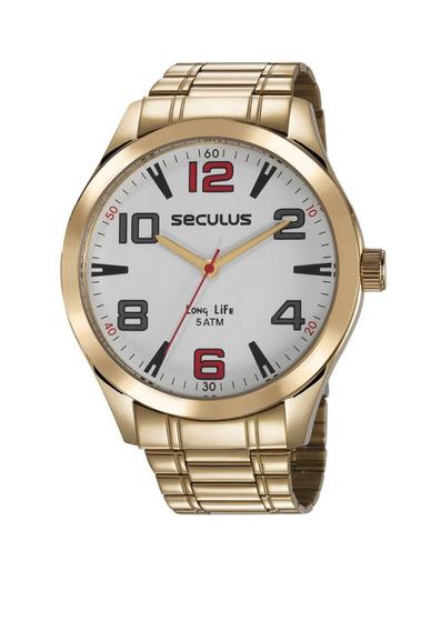 Relógio Seculus Masculino Analógico Dourado 23654gpsvda2