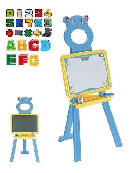 Quadro Lousa Infantil Cavalete 52 Letras E Numeros Pedestal