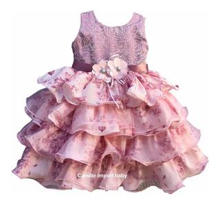Vestido Infantil Floral Rose Princesa Realeza Com Tiara