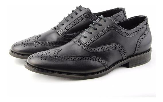 Sapato Oxford Preto Couro Perlatto Combina Com Terno