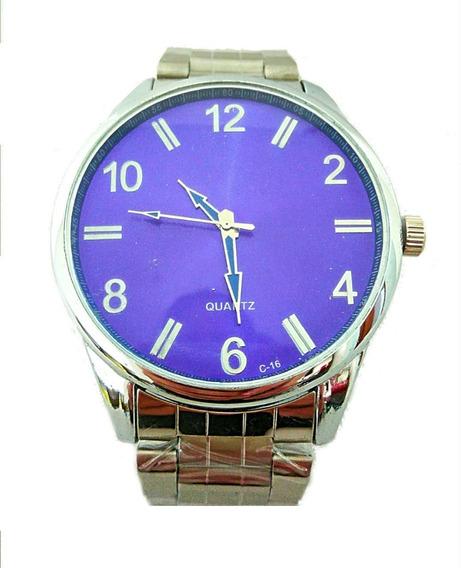 Relógio Luxuoso Masculino Prateado Azul Pulseira Aço Lindo