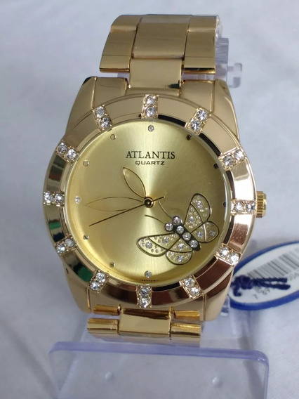 Relógio Dourado Feminino Atlantis G3320 Original