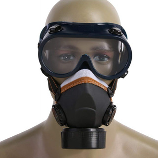 Mascara Antigases Doble Filtro Gafas Protección Industrial