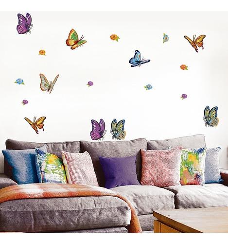 Imagen 1 de 5 de Vinilos Decorativos Mariposas Flores