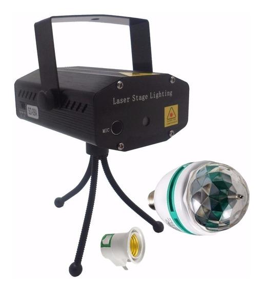 Kit Projetor Holográfico + Lampada Giratória Bola Maluca