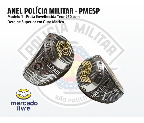 Anel Polícia Militar Sp - Pmesp - Prata 950 Com Ouro Maciço