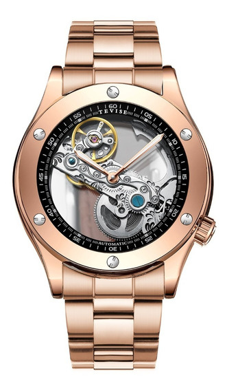 Reloj Para Hombre Automático Tevise Skeleton Oro Rosa T824