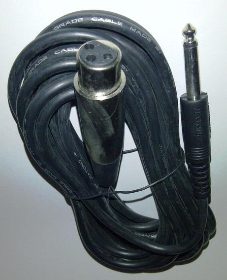 Cable Para Microfono De 5 Mts Canon Hembra Y Plug 1/4 Mono
