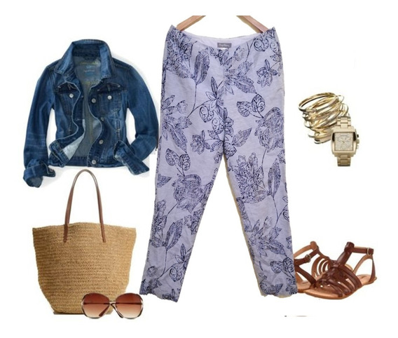 Pantalon Lino Gris Con Azul Grande Fresco Closet Bazarhadasa