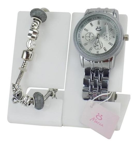 Relógio Feminino + Linda Pulseira Maria Com Garantia