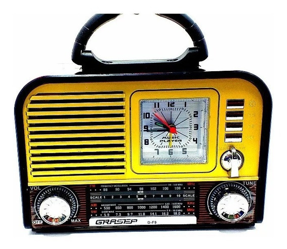 Radio Relogio Retro Am Fm Sw Som Bluetooth Usb Df9