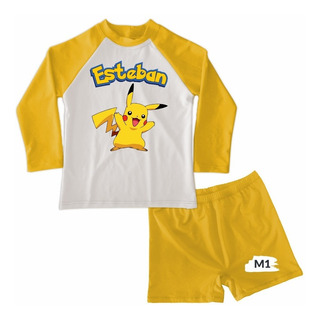 Traje De Baño Niño Conjunto Boxer Pokemon Pikachu Piscina