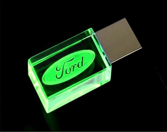 Pen Drive 16gb Cristal Ford Verde + Caixa Portátil