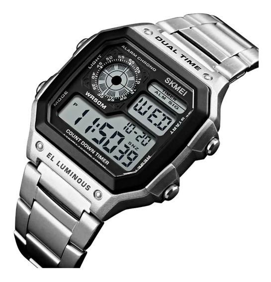 Relógio Masculino Prata Aço Inox Led Digital Calendário