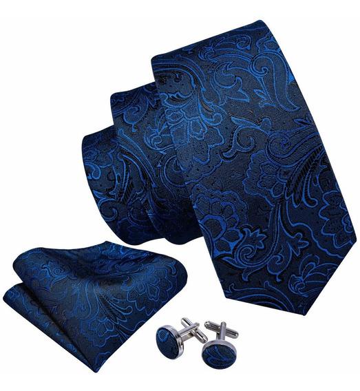 Gravata De Seda Floral Azul Marinho Top Com Lenço Abotoadura