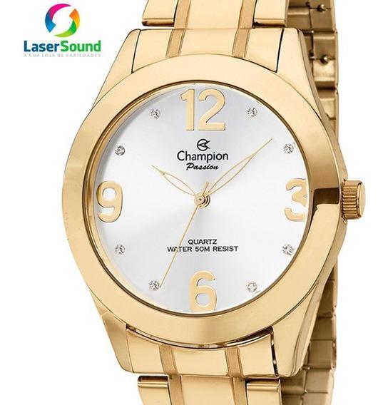 Relógio Champion Feminino Analógico Dourado Original + Nf