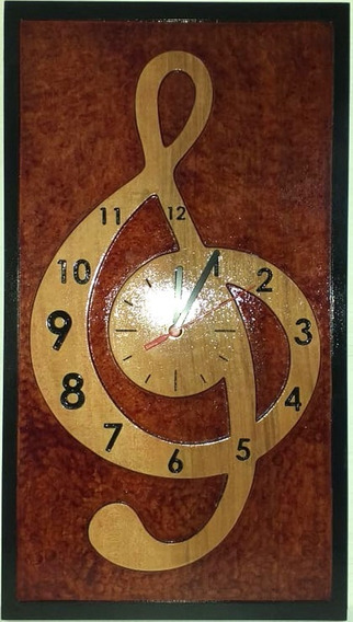 Relógio Clave De Sol Em Madeira De Lei