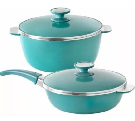 Cacerola+sarten 24cm Con Antiadherente Essen Aqua Set X2